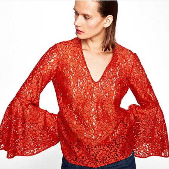 3991b869a4320d Zara Tops | Lace Blouse With Bell Sleeves | Poshmark